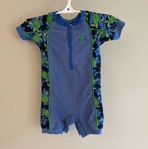 Blue and Green short sleeved rashguard swimsuit